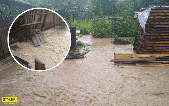 На Закарпатті зливи затопили дороги і будинки: люди по коліна у воді (відео)